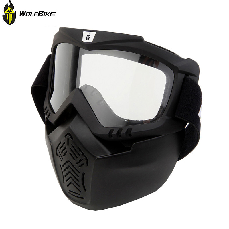 WOLFBIKE Cycling Motorcycle Skiing Helmet Goggles Detachable Mask Lens Anti-fog Goggles&Mouth Filter For Open Face Helmet