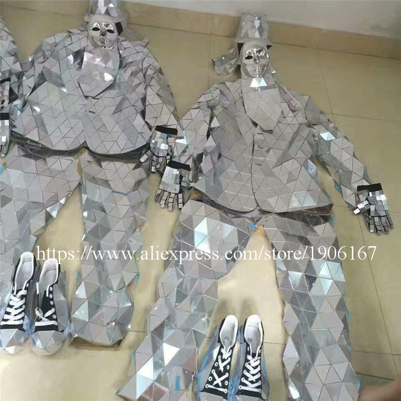 Mirror Clothing Event Party Supplies Mirror Design Dazzling Fashion Costume Men Women Street Art Reflective Clothes Robot Suit9