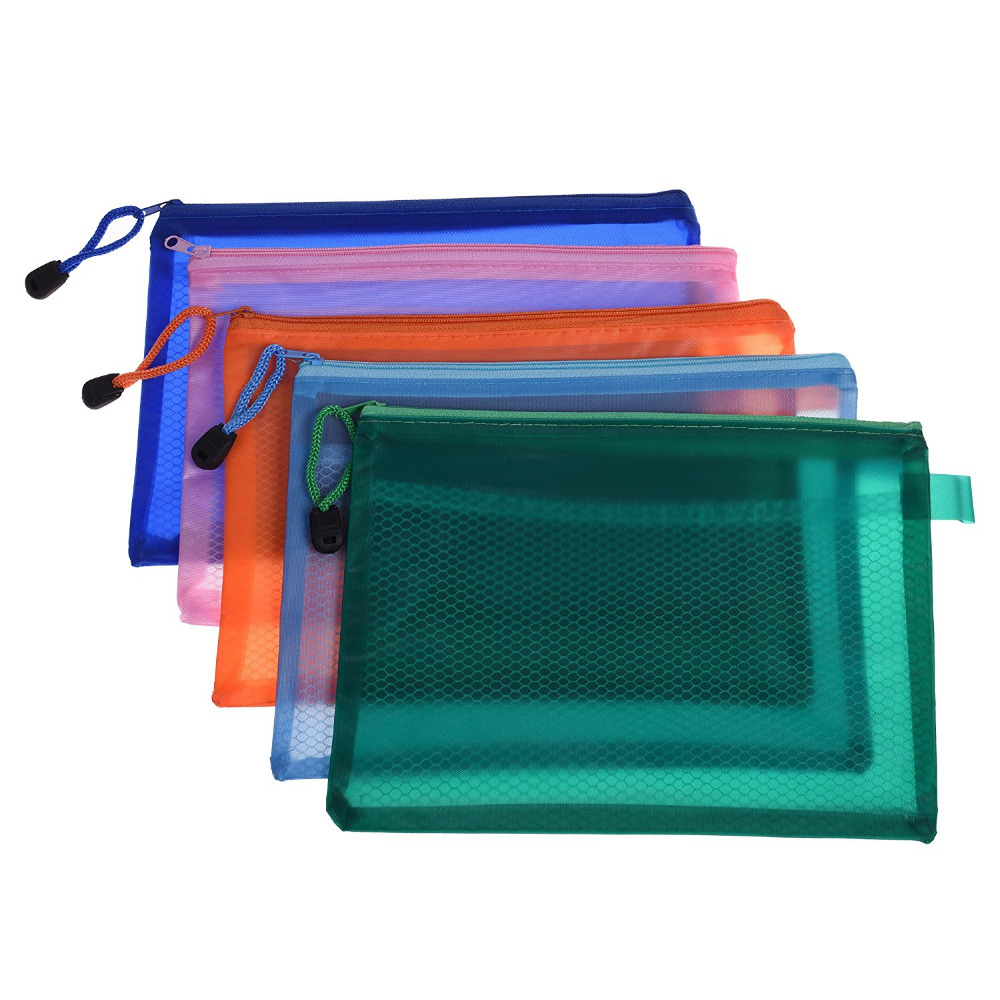 Dependable Transparent Mesh Zipper Bag Pvc File Folder Waterproof Storage Bag Organizer Stationery Office School Supplies Random Color Filing Products