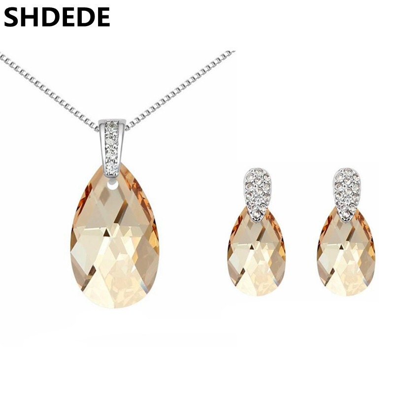 SHDEDE Austrian Crystal From Swarovski Water Drop Necklace Earrings Women Jewelry Sets Fashion Accessories Bijouterie 13613 5814 shdede 7