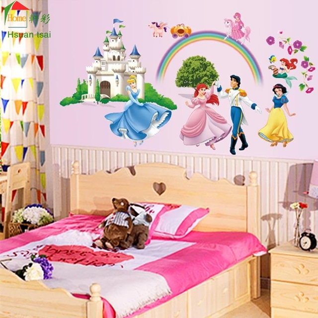 Disne cartoon vinyl wall stickers for kids rooms girls home decor ...