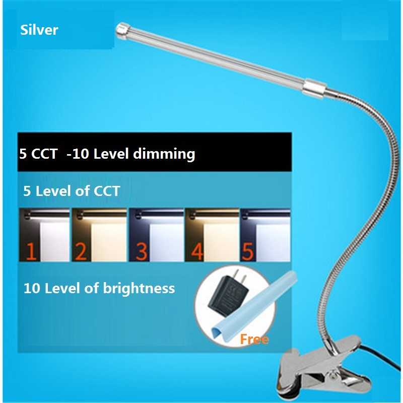 USB and adpter clamp table lamp , desk lamp ,reading lights for beds,flexible desk lamp, 5 level color changing .10 level dim