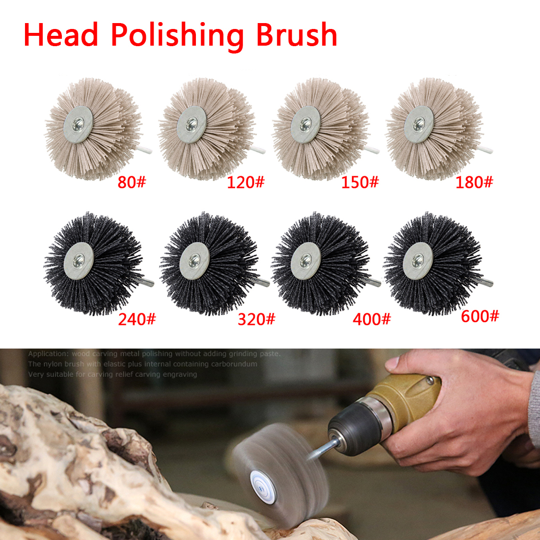 1PCS OD 85mm Drill Abrasive Wire Nylon Radial Polishing Brush For Wood Furniture Mahogany Finishing Metal Stone Wood