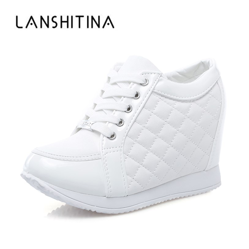 New 2019 Autumn Black White Hidden Wedge Heels Casual Shoes Spring Women's Elevator High-heels Boots Women Sneakers 8cm Heels