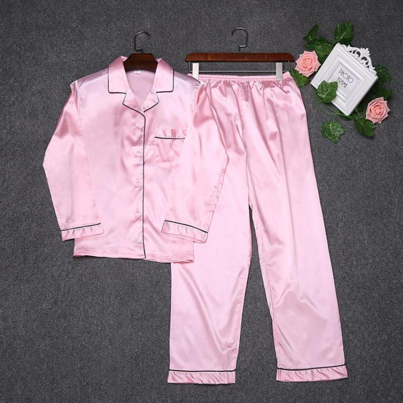 Spring Autumn Shirt&Pants Home Clothes New Women Solid   Pajamas     Set   Faux Silk 2PCS Sleepwear Casual Nightwear Negligee M-XXL