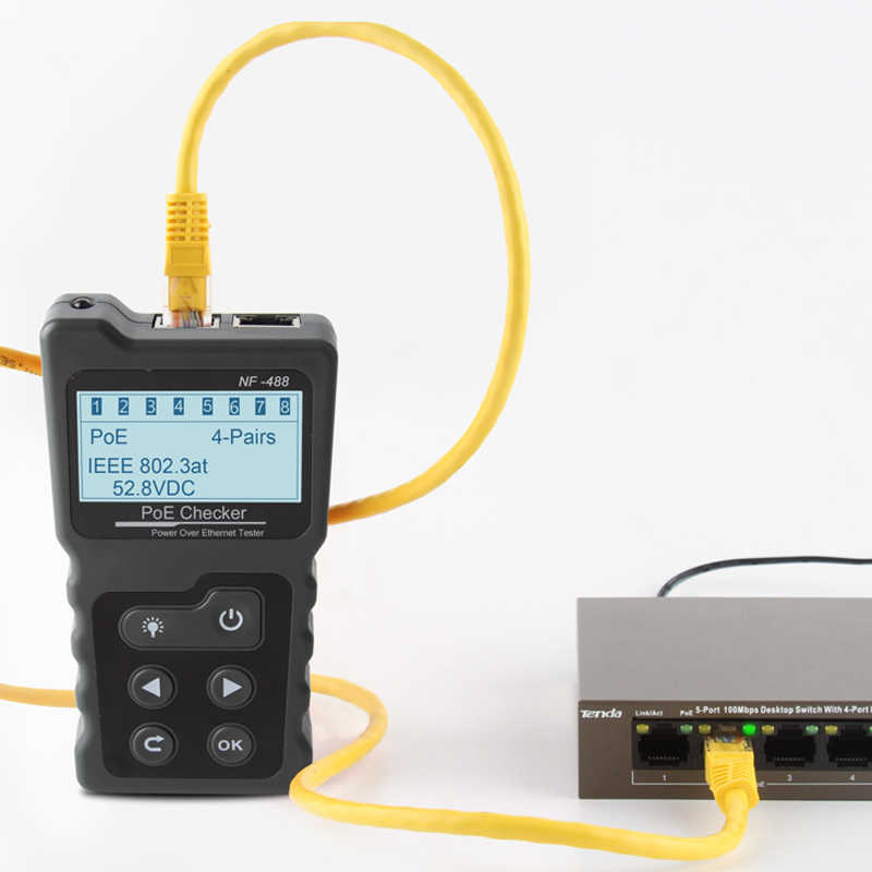 NOYAFA NF-488 Red de prueba de potencia PoE comprobador sobre Ethernet cat5, cat6 comprobador Lan herramientas de red interruptor de PoE, prueba