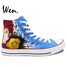 Wen Hand Painted Shoes Design Custom Anime Gaara Naruto Blue High Top Canvas Sneakers for Men Women's Birthday Gifts