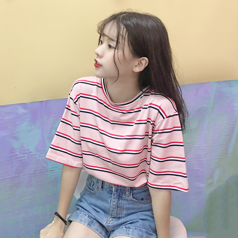 Korean O-neck   T     Shirt   Women kawaii pink Striped Tops Harajuku Tshirt Summer Short Sleeve casual loose   T  -  shirts   camiseta feminina