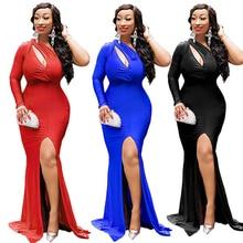 new Women Long Maxi Dress Sexy Cold Shoulder Hollow Out Long Sleeve Side Split Dresses Evening Party  size Dress 2XL недорого