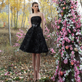 Vestido Curto Festa Short Black Cocktail Dresses Strapless Sleeveless A Line Women Party Dresses Knee Length CPCD26