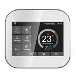 Wifi touch thermostat for water heating/radiator valve by English/German/Polish/Czech/Italian/Spainish control by smart phone