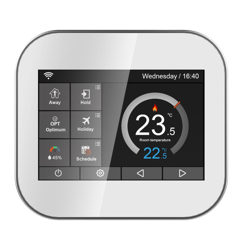 Wifi touch thermostat for water heating/radiator valve by English/Russian/Polish/Czech/Italian/Spainish control by smart phone hm digital valve shower controller 3 ways led touch screen control thermostat display lcd smart power outlet is compatible