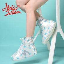 Новый Для женщин дождь Обувь печати Чехлы для мангала ботильоны на плоской подошве Водонепроницаемый Повседневное Нескользящие обрастания обуви Непромокаемые сапоги на платформе дизайн 2016