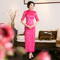 Women Blue Long Qipao Chinese Modern Revised Long High-Grade Cheongsam Dress For Important Occasion 1366QY