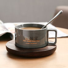 Creative American Style Coffee Cups With Spoon Continental Tea Set Tea Cup Simple Household Matte color Ceramic Coffee Cups Gift