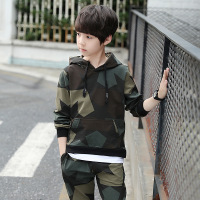 Boy Clothes Set Teenagers Spring Long Sleeve Camouflage Hooded Sweatshirt + Pant 2pcs Sports Suit Print Tracksuit Kids Clothing