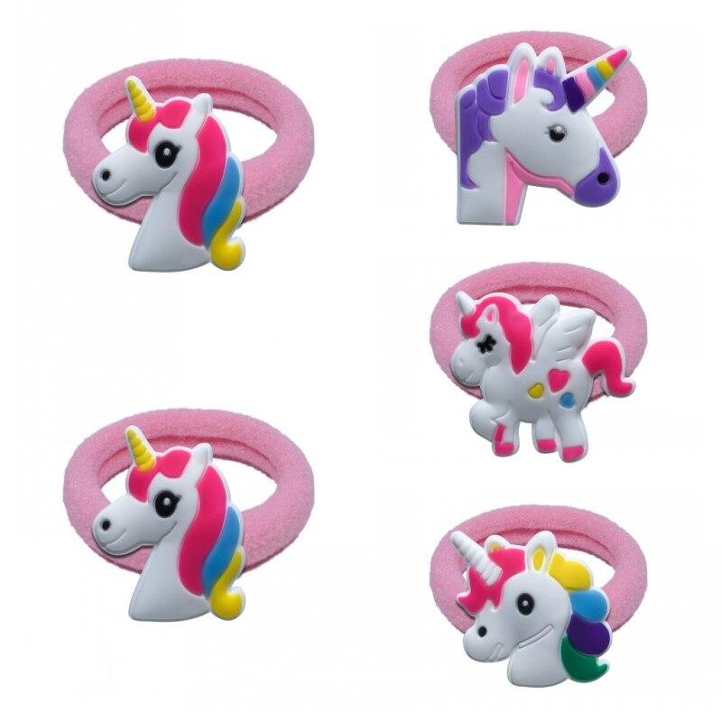 10pcs Unicorns Animals Hairbands Elastic Headband Baby Girls Hair Accessories Scrunchie Tie Gum Rubber   Headwear   Kids Gift