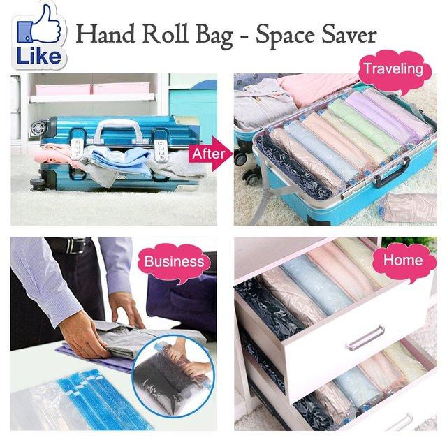 Bolsa de vacío de compresión enrollable a mano, bolsa de plástico comprimida plegable para el hogar, bolsa de almacenamiento, bolsas de sellado ahorradoras de espacio