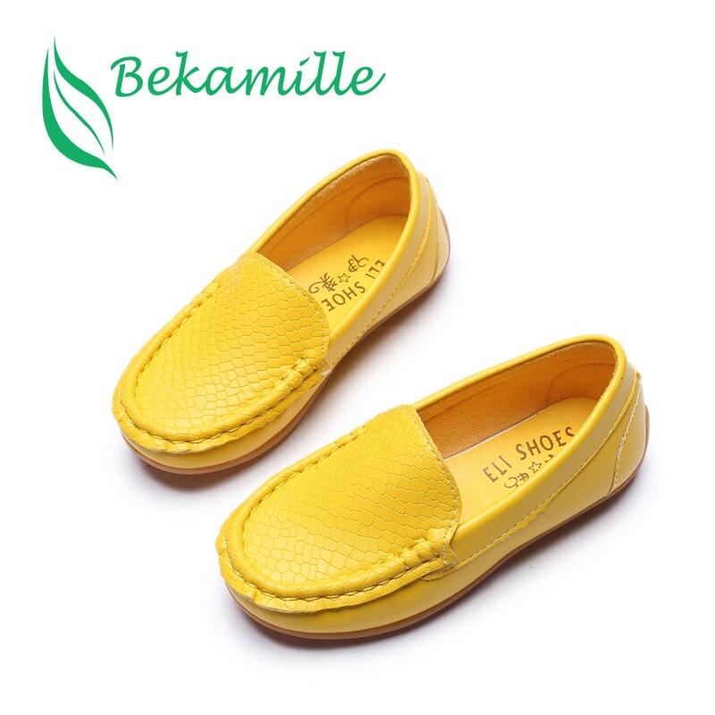 Bekamille niños Zapatos 2018 Niñas Niños Zapatos alta calidad cuero niños sneakers inferior suave transpirable niño Mocasines