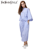 TWOTWINSTYLE 2017 Summer Women Striped Kimono Long Shirt Dresses Midi Lace Up Cloak Sleeves Bandage Tunic