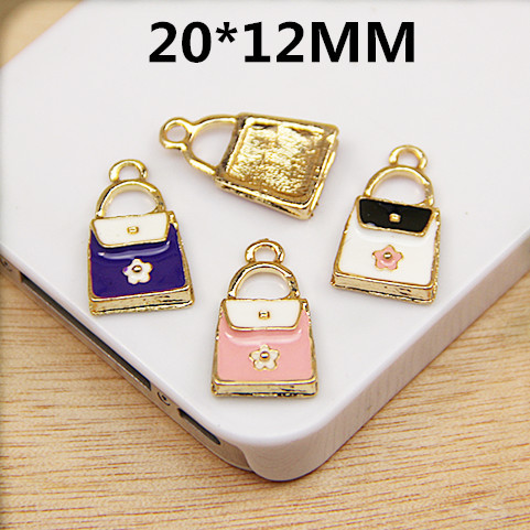 Free Shipping 50PCS/Lot Flroal Jewelry Charms Fashion Women Handbag Shape Oil Drop Enamel Alloy Floating Pendant Charms for DIY