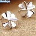 Jinwateryu 925 sterling silver Stud Earrings brincos Trevo para as mulheres finas Jóias de prata pura brincos de cor branca para meninas
