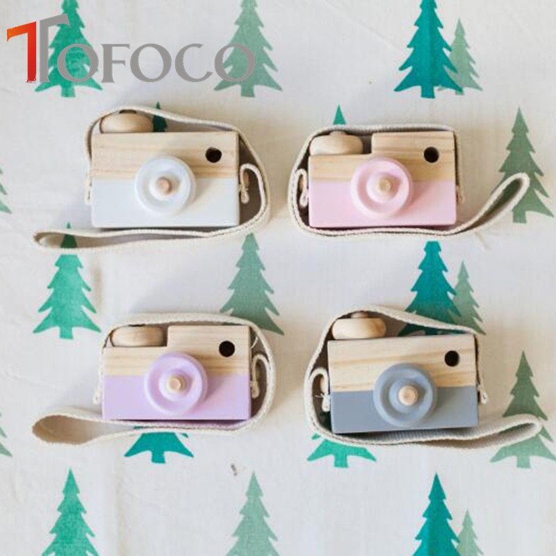 TOFOCO Children Cute Wooden Camera Safty and Natural Toys 5 Fashion Color Choose Toy Camera Best Christmas New Year Gift
