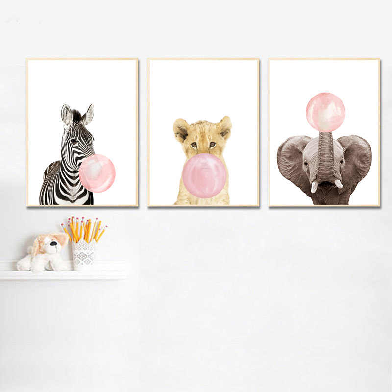Pink Bubble Elephant Giraffe Child Poster Animal Wall Art Canvas Nursery Print Painting Nordic Kid Baby Room Decoration Picture