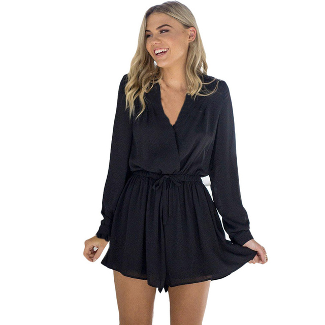 7df4ddb4a64 Shorts Rompers Womens Jumpsuits Summer Ladies Black Khaki Red Sexy Deep V  Neck full Sleeve Solid color Casual Jumpsuit  AK9650