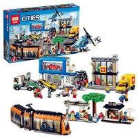 Модель Строительные блоки наборы совместимы с Лего кирпич поезд 60097 02038 1767 шт Geuine город квадратный набор 3D кирпичи рисунок