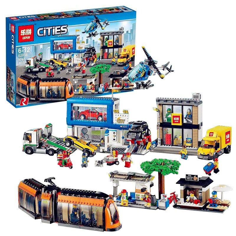 Modelo de bloque de construcción Bluetooth Compatible con Lego ladrillo tren 60097. 02038, 1767 piezas genuino de la Plaza de la ciudad de 3D ladrillos figura-in Bloques from Juguetes y pasatiempos    1