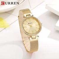 CURREN Women Quartz Watch Fashion Bling Casual Ladies Watch Female Quartz Gold Watch Crystal Diamond For Women Clock