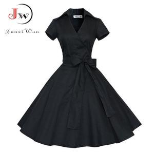 Image 3 - Summer Dress Women Polka Dot Vintage Swing Robe Rockabilly Housewife Retro 50s Pinup Cotton Mini Sundress Vestidos