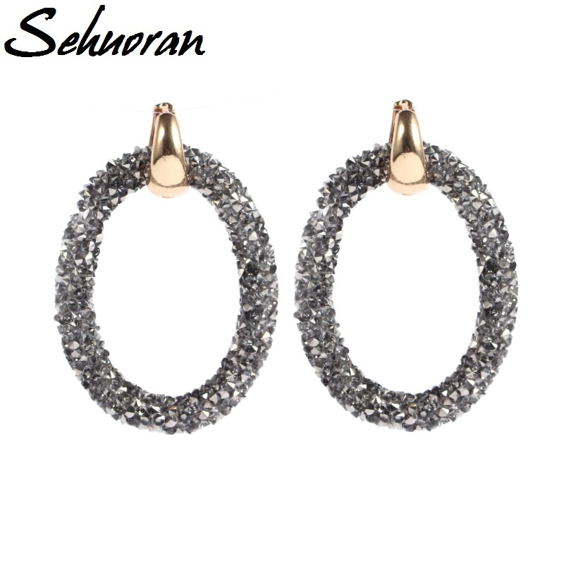 Sehuoran 2017Hotsale artificial crystal earrings for women brincos oorbellen Two kinds of wear law of Copper buckle long earring