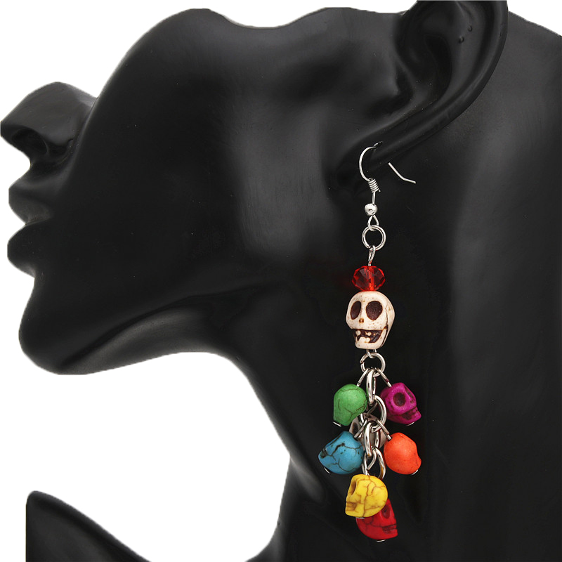 Earrings Jewelry Skull-Collector Colorful-Beads Halloween-Gift Day-Of-The-Dead 1pair