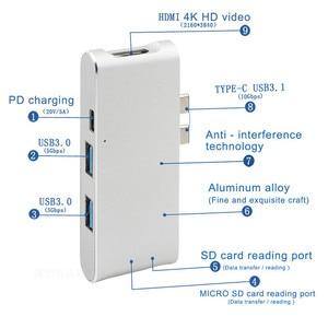 Image 2 - חדש סוג C Hub מחבר USB C ממיר HDMI 4 K USB 3.0 רכזת SD TF כרטיס קורא מטען עבור Macbook USB C רכזת HP מחשב נייד רכזת