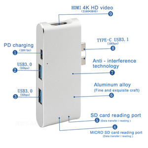 Image 2 - Nowy typ C Hub złącze USB C konwerter HDMI 4 K, Hub USB 3.0 karta SD TF czytnik ładowarki do macbooka USB C centrum HP PC laptop piasty
