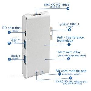 Image 2 - 새로운 유형 c 허브 커넥터 USB C 변환기 hdmi 4 k usb 3.0 허브 sd tf 카드 리더 충전기 macbook usb c 허브 hp pc 노트북 허브