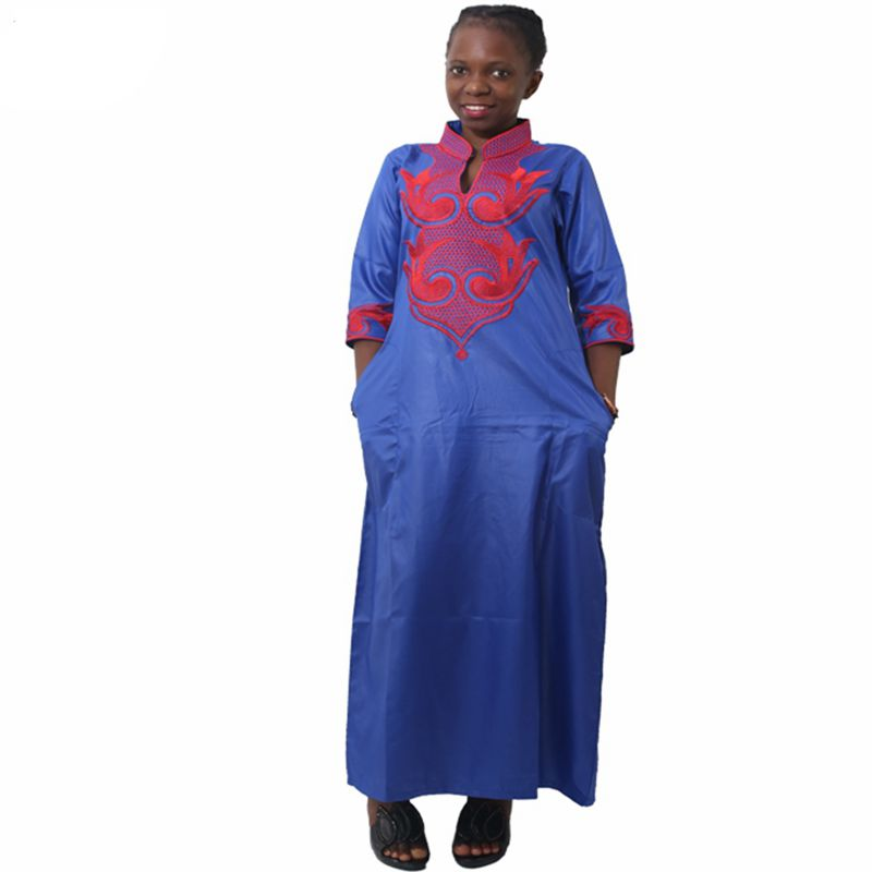 H & D nuevos vestidos africanos para las mujeres Dashiki bazin riche ropa africana tradicional manga larga para damas sin bufanda
