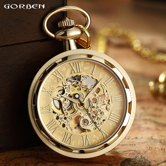 Luxury Pocket Watch Roman Numerals Dial Mechanical Hand Wind Pocket Watches Fash