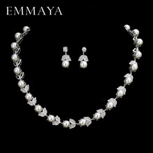EMMAYA New Silver Color Pearl Jewelry Sets For Women Flower Shape Necklace Earrings Necklace Vintage Wedding Jewelry Set(China)