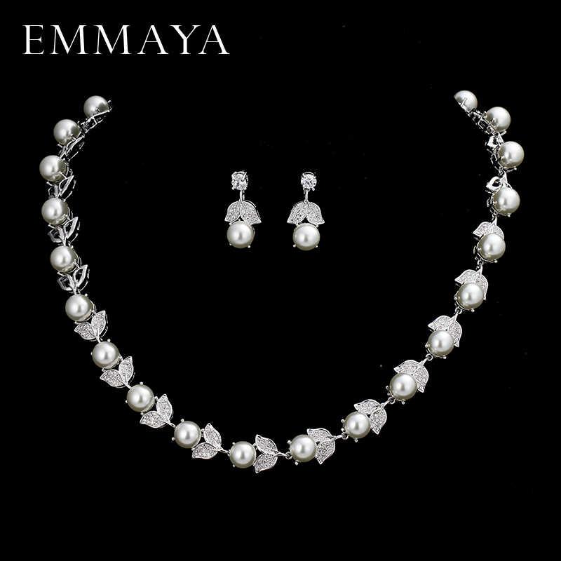 EMMAYA New Silver Color Pearl Jewelry Sets For Women Flower Shape Necklace Earrings Necklace Vintage Wedding Jewelry Set