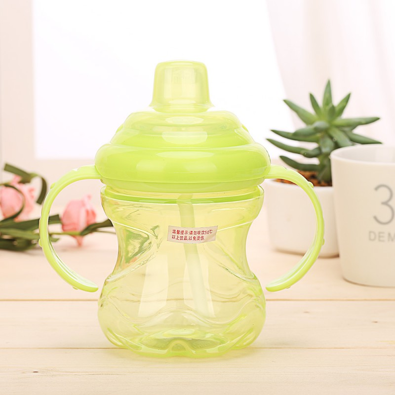 Baby Straw Cup Newborn baby 230ml Bottle Children Learn Feeding Drinking Handle Bottle Kids Straw Juice Water Bottles