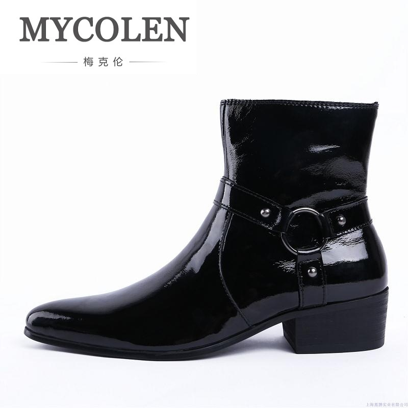 MYCOLEN New Autumn Winter Mens Pointed Toe High Heels Genuine Leather Motorcycle Boots Shoes Men Fashion Design Ankle Boots