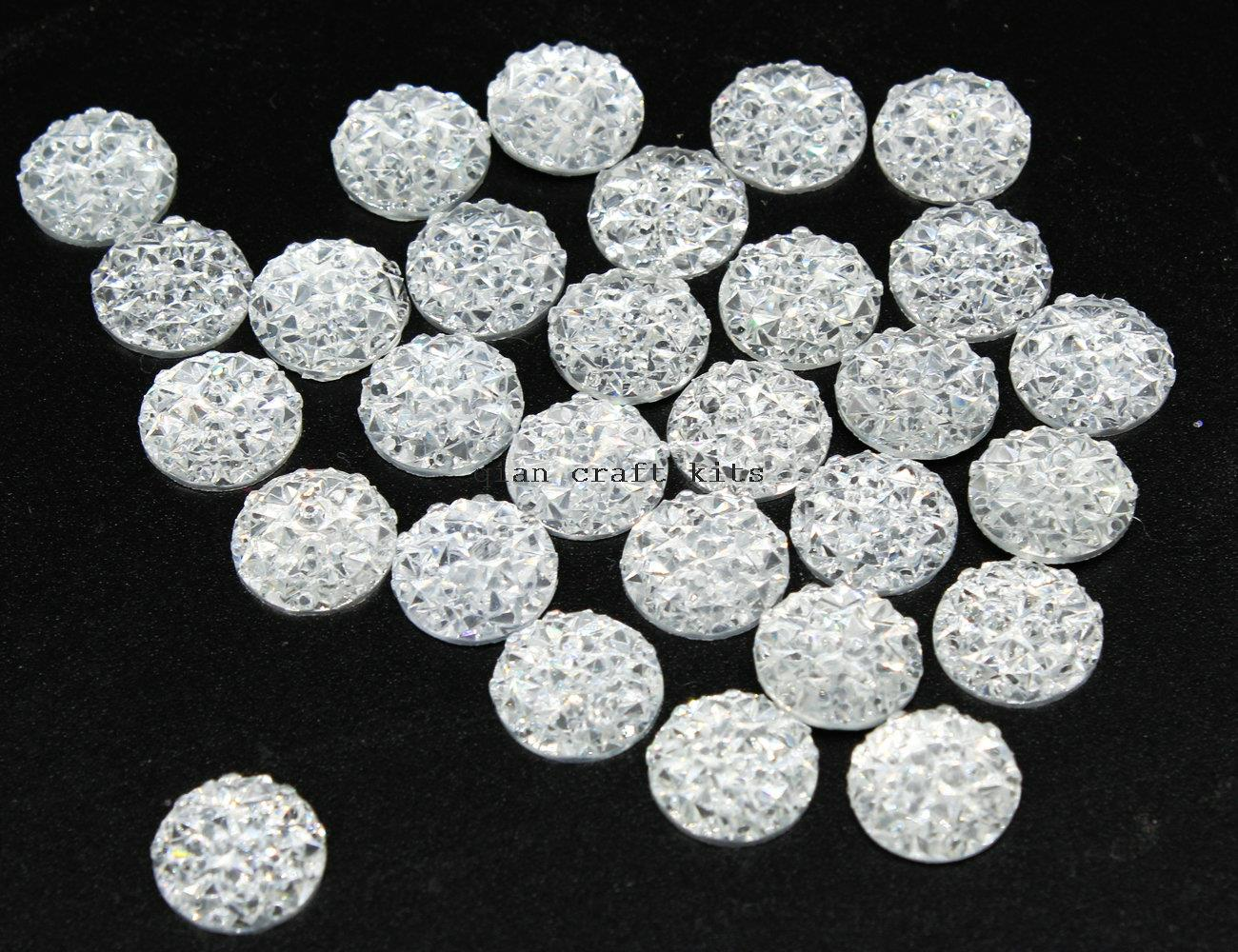 1000pcs 10mm resin drusy cabochons, shiny clear silver iridescent round druzy cabs glitter DIY Decoden Supplies Adornments D25