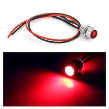 1 Pc 12 v 8mm Chrom Wasserdichte Lampe LED Panel Pilot Dash Auto Van Boot Warnung Dashboard Signal Licht instrument Pilot Lampe(China)