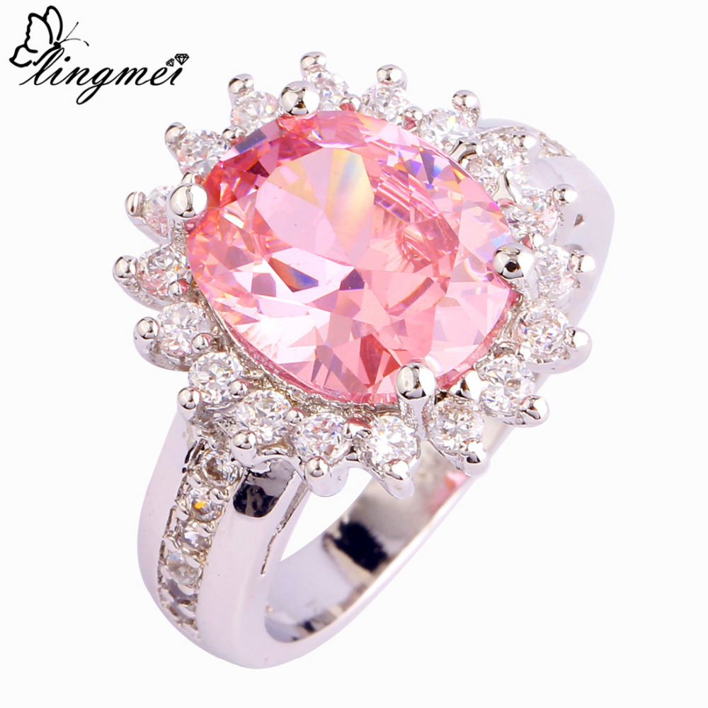 lingmei Sweetie Pink & White AAA CZ Silver Color Ring Size 6 7 8 9 ...