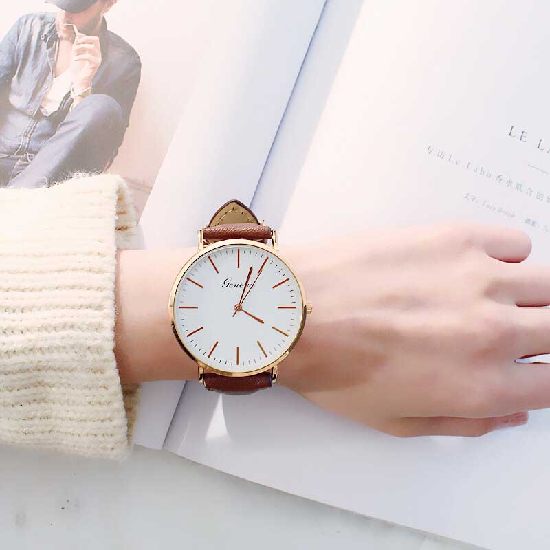 Fashion Large Dial Watches Woman Students WristWatch Damen Simple Leisure Belt Retro Lovers Quartz Watch