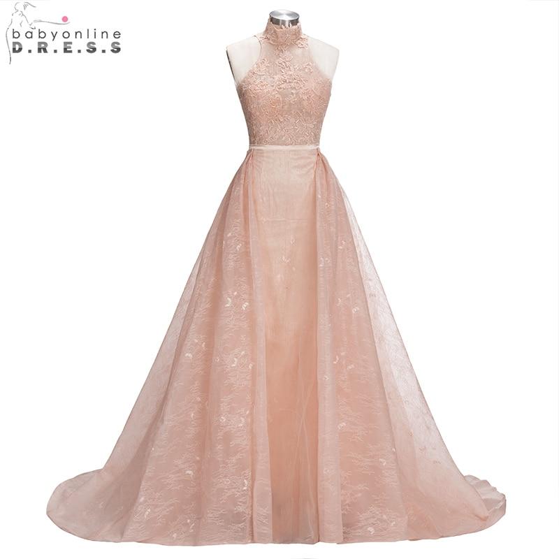 Peach Color Lace A-Line Prom Dresses 2018 Halter Neck Long Party ...