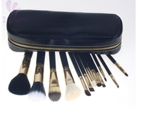 ISMINE Clean Stock 12 Pcs Professional Black Cosmetics Make Up Brush Set With Golden Zippered Bag